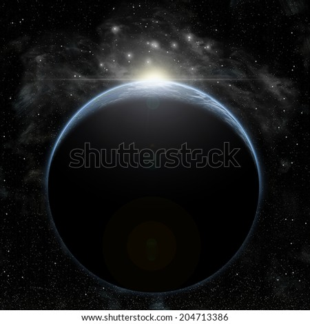 An artist's illustration of an Earth like planet in deep space with a star in a nearby nebula breaking the horizon. - stock photo