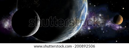 An artist's illustration of an Earth like planet in deep space with an orbiting moon and a red planet orbiting around the same star. - stock photo