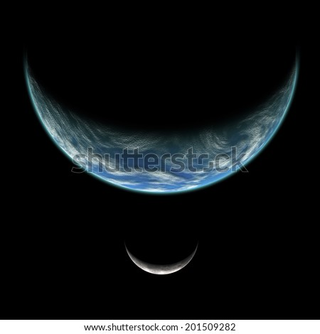 An artist's illustration of an Earth like planet in deep space with an orbiting moon illuminated by a nearby sun. - stock photo