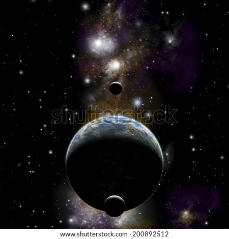An artist's illustration of an earth type world with two moons against a background of nebula and stars. - stock photo
