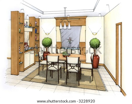 An artist's simple sketch of an interior design of a dining room (design and sketch by submitter) - stock photo