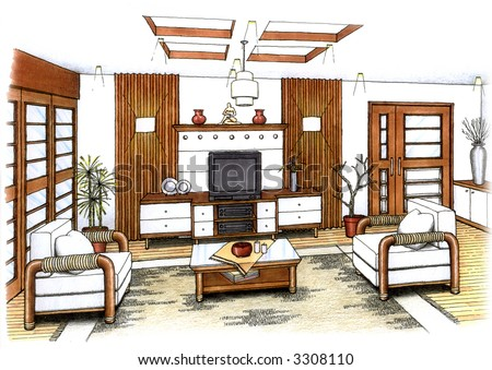 An artist's simple sketch of an interior design of a living room (design and sketch by submitter) - stock photo