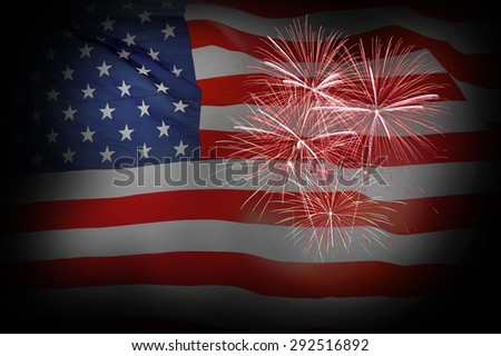 An artistic rendering of fireworks against a background of the American Flag - stock photo