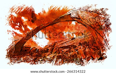 An artistic rendition of the Landscape Arch in Arches National Park, Utah. - stock photo