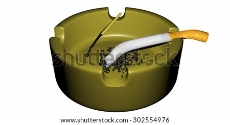 an ashtray with a cigarette with a match and ashes - stock photo