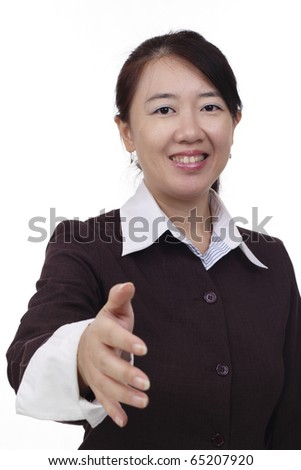 An Asian businesswoman offering a handshake
