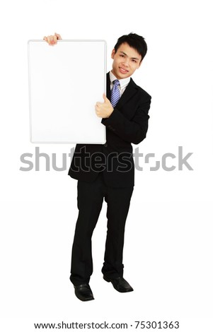 An Asian executive holding a blank whiteboard and isolated in white background