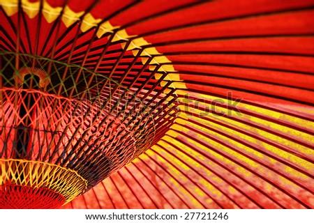 An asian paper umbrella, decorative for festivals. - stock photo