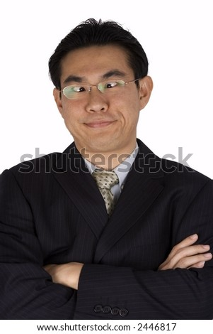 An asian people with cross-eye in business suite. - stock photo