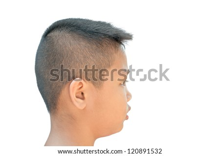 An asian teen head with short hair cut - stock photo