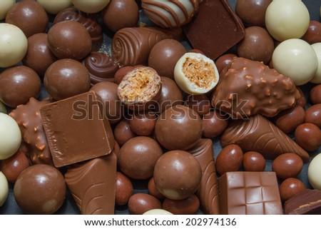 An assortment chocolates - stock photo