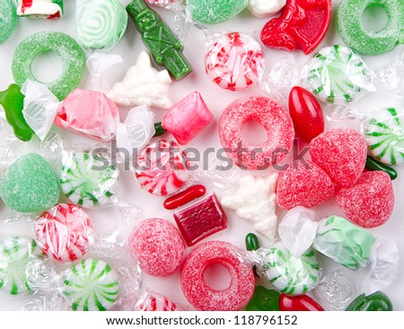 An Assortment of Christmas candy for a background - stock photo