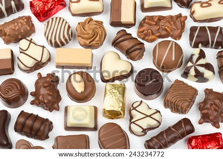 an assortment of fine chocolate pralines - stock photo
