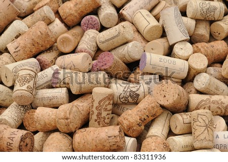 an assortment of French wine corks