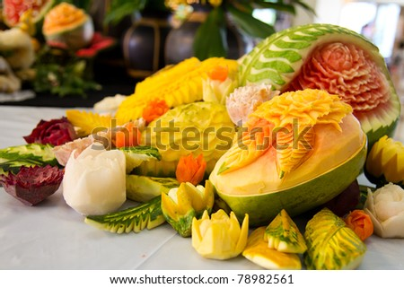 An assortment of fresh carved mix fruits - stock photo