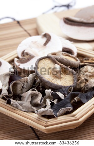 An assortment of portobello, woodear, crimini and shitake mushrooms. - stock photo