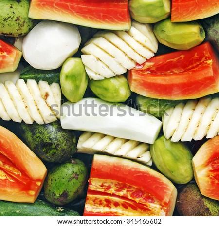 An assortment of tropical fruit mix.  - stock photo