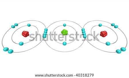 An atomic diagram of carbon dioxide, or CO2, showing its protons, neutrons and electrons including the carbon and oxygen atoms - stock photo