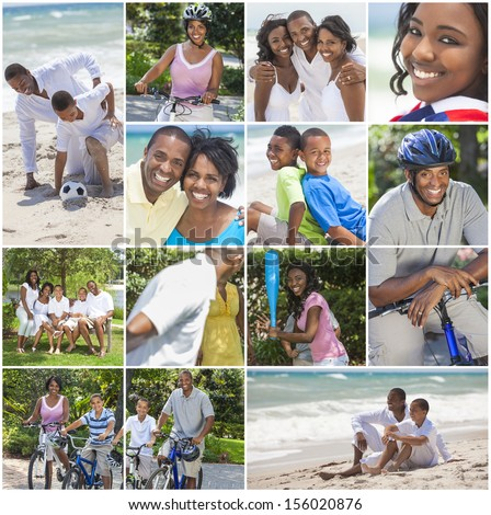 An attractive African American family of mother, father, two sons and daughter outside active having fun in summer sunshine, playing at the beach, cycling, relaxing, smiling, laughing - stock photo