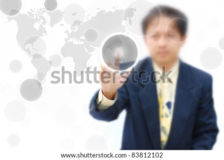 An attractive artwork of business idea with asian model. - stock photo