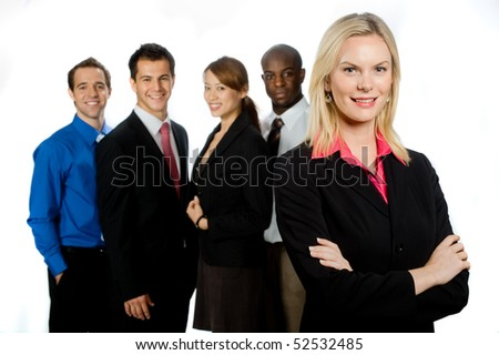 An attractive caucasian businesswoman and her team of professionals standing together on white background - stock photo