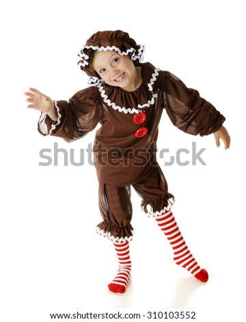 "An attractive elementary ""gingerbread girl"" dancing with goofy moves.  On a white background."