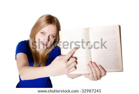 an attractive girl showing something in a book