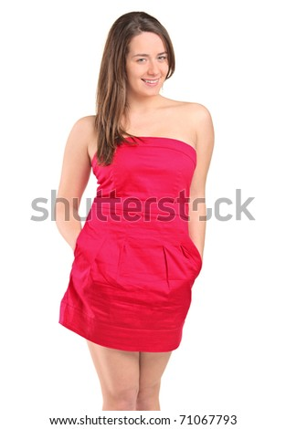An attractive woman in a red dress posing isolated against white background - stock photo