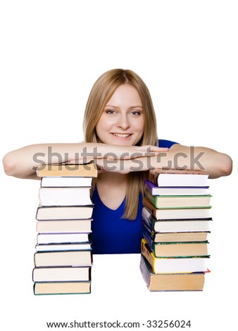 An attractive woman with books