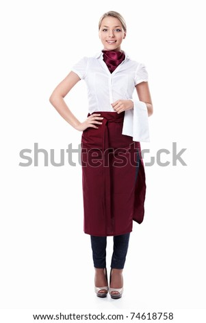 An attractive young waitress with a white background