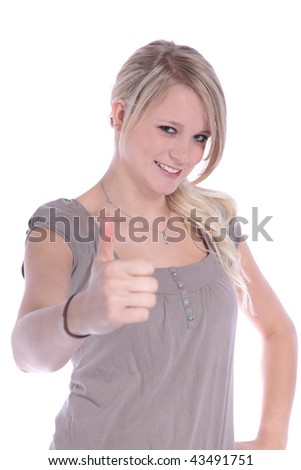 An attractive young woman making a positive gesture. All on white background