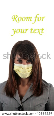 an attractive young woman wears a paper face mask to protect herself from the H1N1 Virus, isolated on white, with room for your text - stock photo