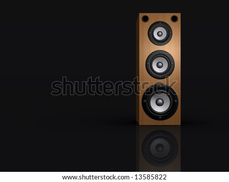 An audio speaker on black background - rendered in 3d