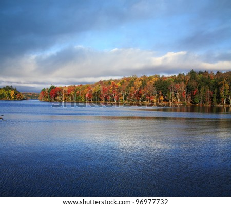 An Autumn Morning On Tupper Lake In The Adirondack Mountains Of New York State, USA - stock photo