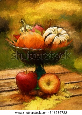 An autumn seasonal centerpiece with pumpkins, red apples, ferns, and gourds turned into a colorful harvest painting