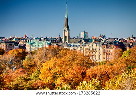 An autumn view on Oscar's church in Stockholm, Sweden. - stock photo