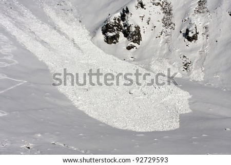An avalanche view from above, San Simone Ski Resort, Italy. - stock photo
