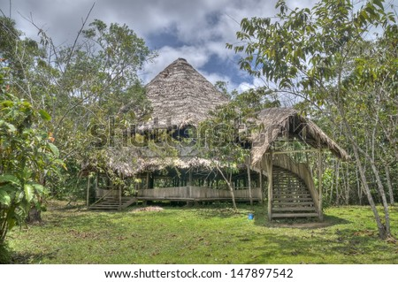 An ayahuasca ceremony house in the Peruvian Amazon.  - stock photo