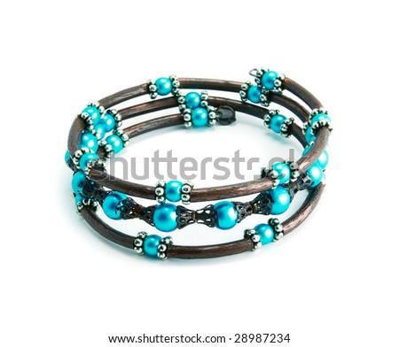 An azure bracelet isolated on a white background - stock photo
