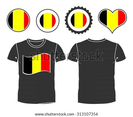 An belgian businessman rips open his shirt and shows how patriotic he is by revealing his countries flag beneath printed on a t-shirt. Raster version - stock photo