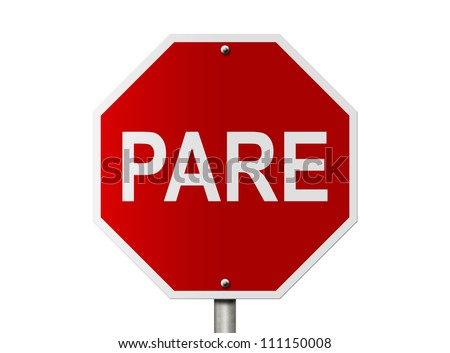 An Brazil road pare stop sign isolated on white and copy space for your message