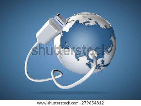 An computer cable and plug connects to Asia on world globe. Concept for how users in Asia, India and China connect to the internet and social media. - stock photo