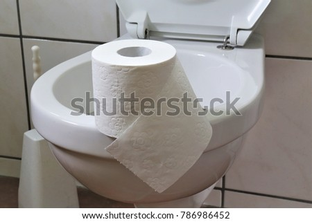 An concept Image of a bathroom with toilet paper