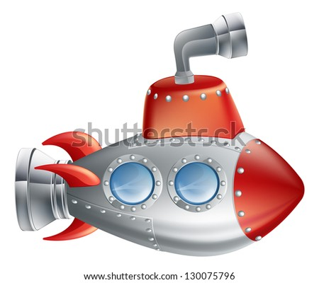 An drawing of a cute cartoon submarine in childrens illustration style. - stock photo
