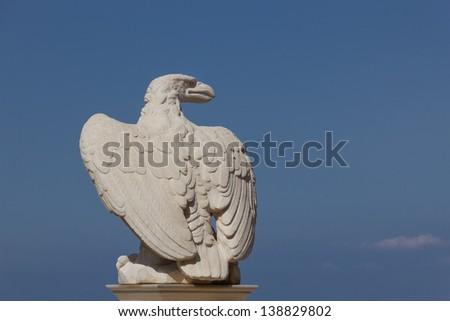 An eagle statue in the Bahai garden in Haifa, Israel - stock photo