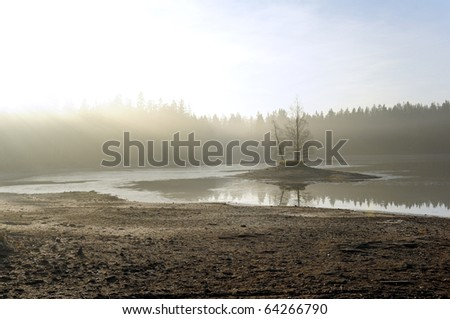 An early autumn morning landscape with a pond drained  - stock photo