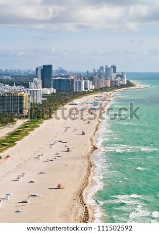 An early morning aerial view of Miami Beach, Florida. - stock photo