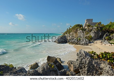 An early morning view over the Maya ruin of Tulum, Mexico. - stock photo