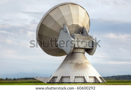 An earth station satellite installation - the type used for broadcasting. - stock photo