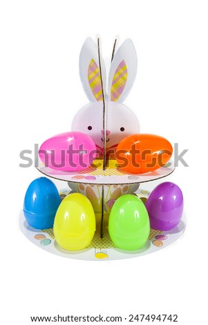An Easter egg stand against a white background